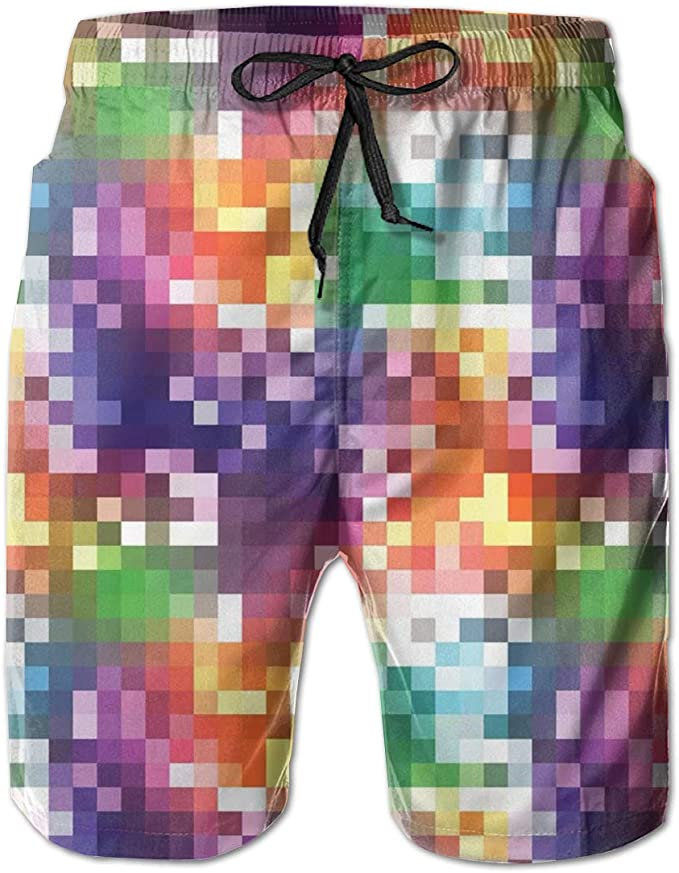 Mens Colorful Squares Summer Holiday Quick-Drying Swim Trunks Beach Shorts Board Shorts