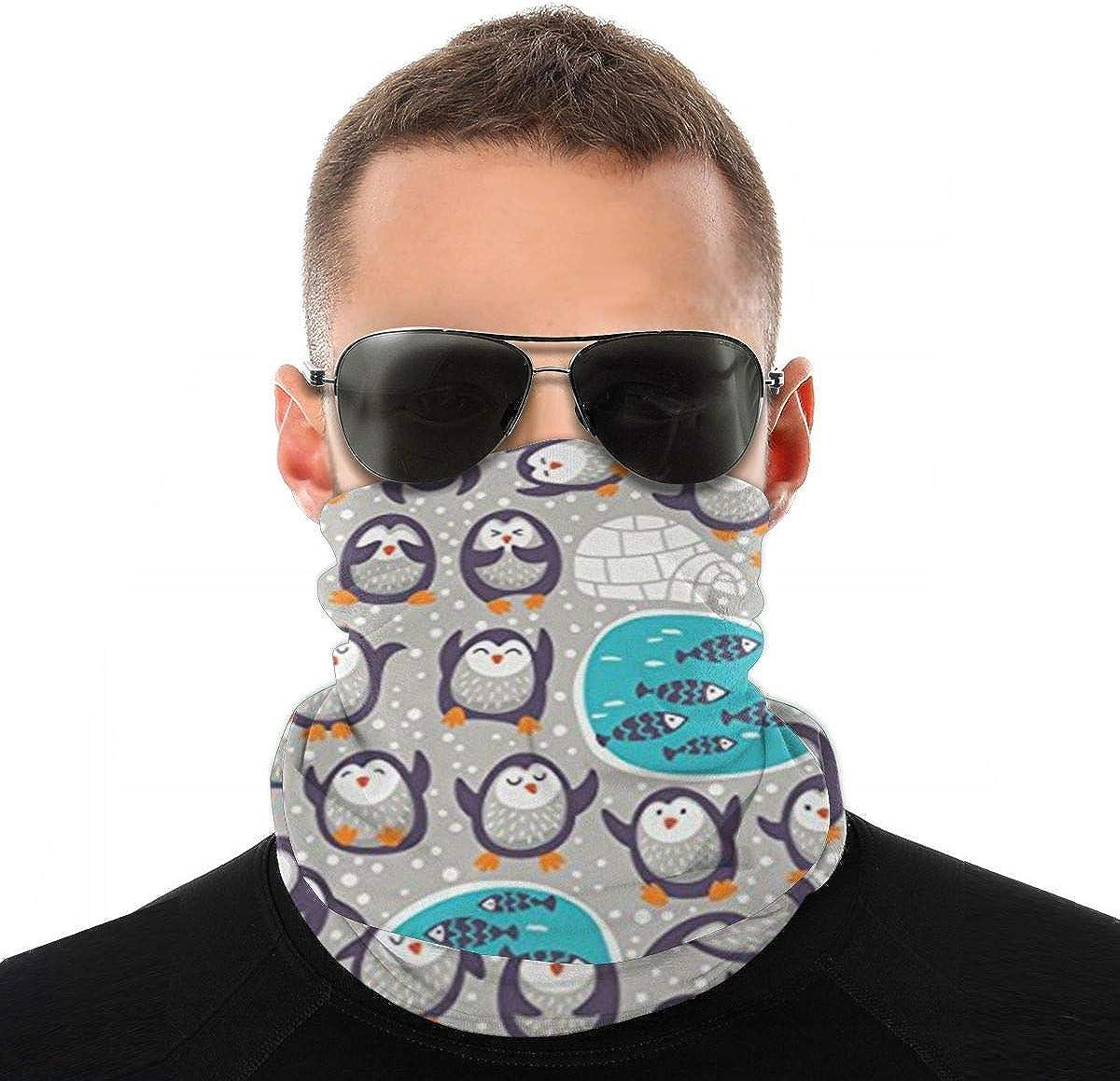 BDGAjdka Snow Funny Penguins Unisex Bandana Cuello Polaina Protección facial Bufanda Sol Protección UV Polvo A prueba de viento Sombrero para uso al aire libre