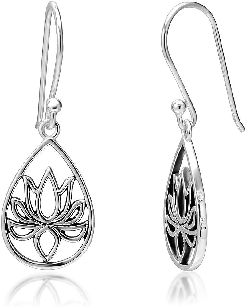 Design 6 925 Sterling Silver Flower Pattern Drop//Dangle Earrings