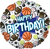 "Creative Converting CTI Mylar Balloons, Happy Birthday Sports, 17"", Multicolored pack of 5"