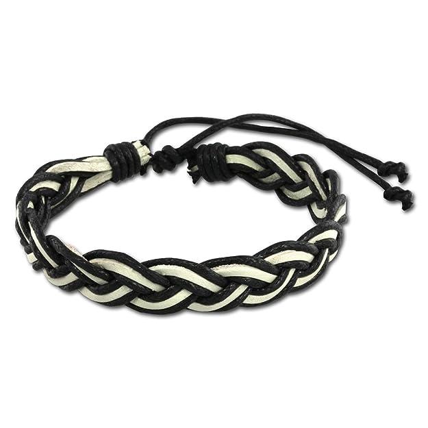 Pulsera de cuero SilberDream negro/blanco con cierre de nodo - hasta 21,08 cm - mujer y hombre pulseras LAP533S