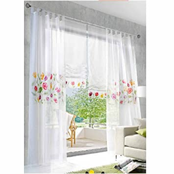Moderne Küchengardinen gestickter Voile Transparenter Kurz Vorhänge ...