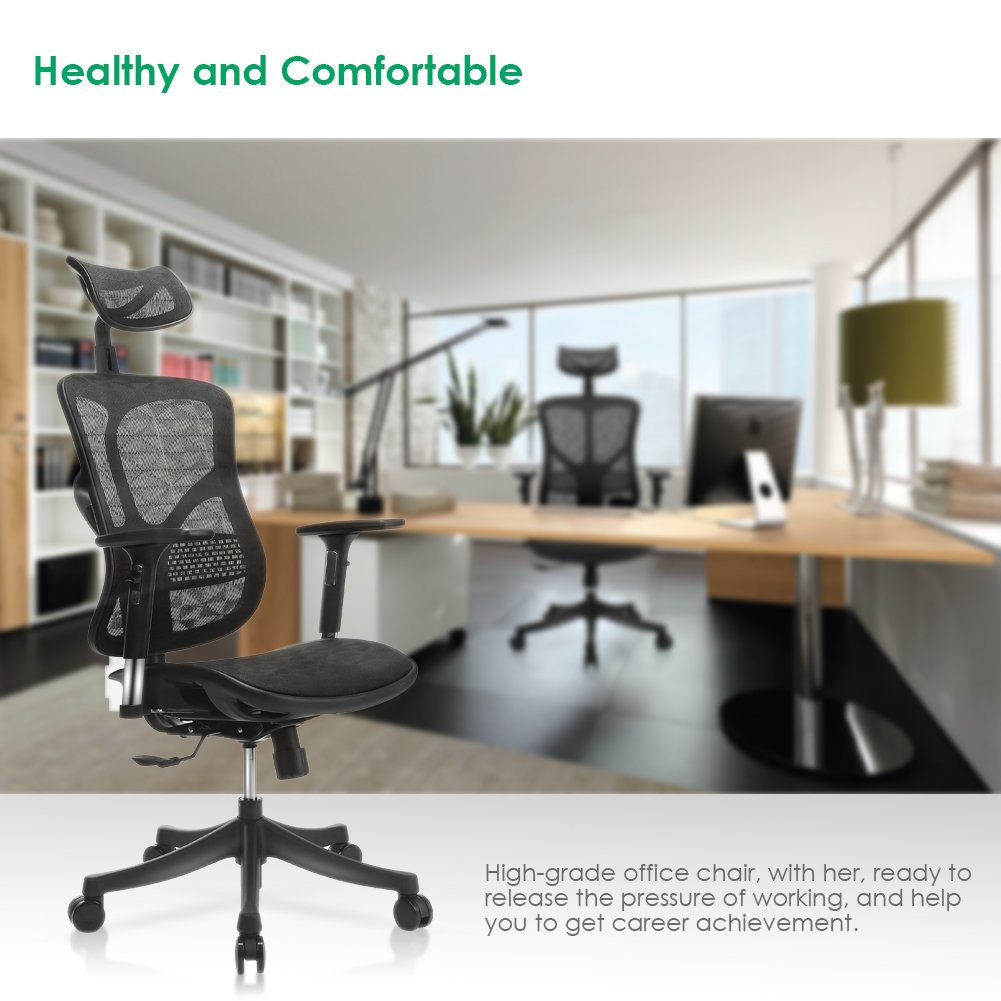 Amazoncom TomCare Office Chair Ergonomic Mesh Office Chair Modern with  Rotation Headrest Adjustable Backrest Armrest and Seat Height Swivel  Computer