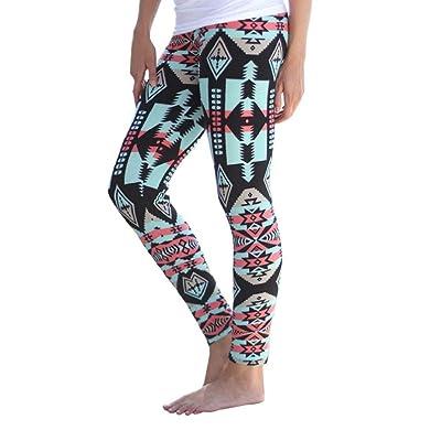 Orangesky Women Casual Sport Skinny Geometric Print Stretchy Pants Leggings