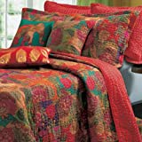 Tropical Red Floral Bedding 3 Piece Cotton Reversible Quilt Set King/Cal King Size - Includes Bed Sheet Grippers Straps