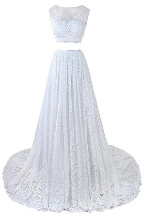 Ellames Long Prom Dress Two Pieces Lace Wedding Dress White UK 28W