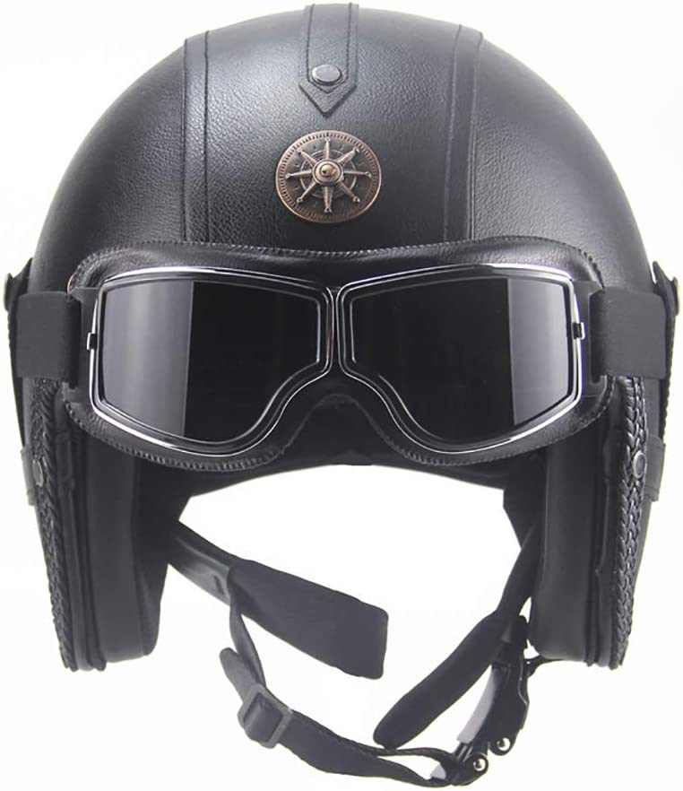 Goggles Dot Certified LWAJ Casques Ouverts en Cuir pour Adultes Cruiser Scooter-Helmet Vintage Half Motorbike Moped Jet Helmet Pilot Goggles Motorcycle Chopper Biker Helmet