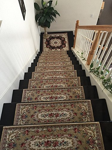 Acrylic Non Slip Stair Runners Rug Stair Treads Carpet Stair Landing Door Mat Custom Size Stair Landing 90x90cm 35x35 Beige