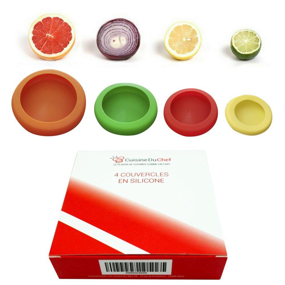 ✮ CuisineDuChef ✮ Coperchi flessibili in silicone   Set di 4   Protezioni riutilizzabili   Conservatore di alimenti   Concepito per frutta e verdura, barattoli, conserve CDC-110