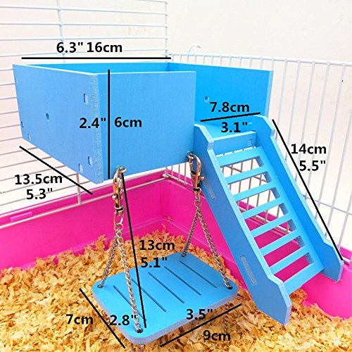 Picture of Wooden Platform,Hamster Swing Ladder Set for Mouse, Chinchilla, Rat, Gerbil and Dwarf Hamster,Climbing Kits for Small Animals (Blue)