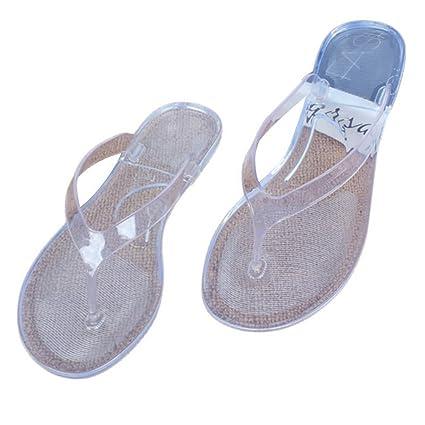 a814e3238efc Amazon.com  SUNLEE Women Transparent Beach Sandals Female Cute Light Weight Clear  Flip Flops  Sports   Outdoors