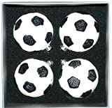 Glass Christmas Ornaments Soccer Ball Boxed Set of 4, 2-5/8''