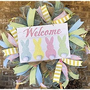 Happy Easter Spring Welcome Wreath | Door Hanger | Door Wall Decor | FREE Shipping | Burlap Bowtique 29