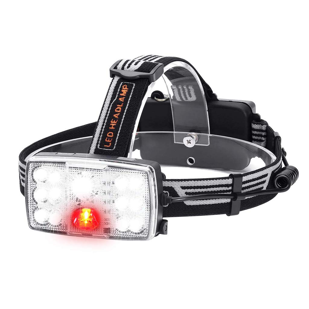 KLSHW USB Charging Glare Outdoor Waterproof Night Fishing Headlights 14LED Headlights Red Light Warning Lights