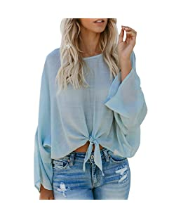 FTXJ Women Ladies Casual Long Sleeve Bandage O-Neck Tops Blouse Pullover Shirt Light Blue