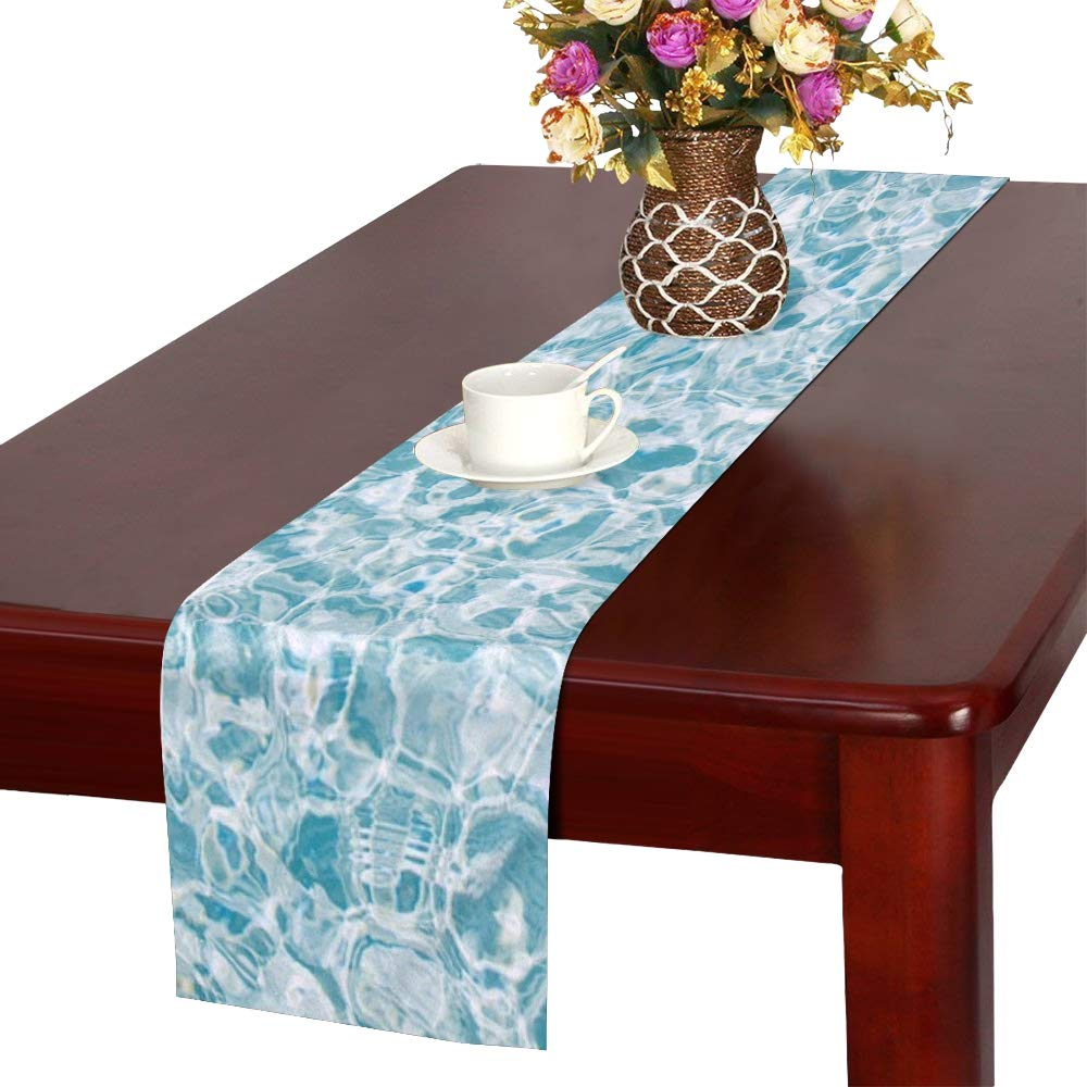 Jnseff Water Surface Pattern Ripple Blue Clear Table Runner, Kitchen Dining Table Runner 16 X 72 Inch For Dinner Parties, Events, Decor