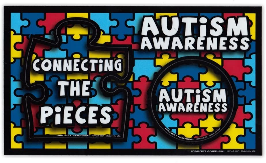 Amazon Com Refrigerator Magnet Picture Frame Autism Awareness Puzzle Piece Design 9 X 5 25 3 5 X 4 5 And 3 X 3 Openings For Pictures Kitchen Dining