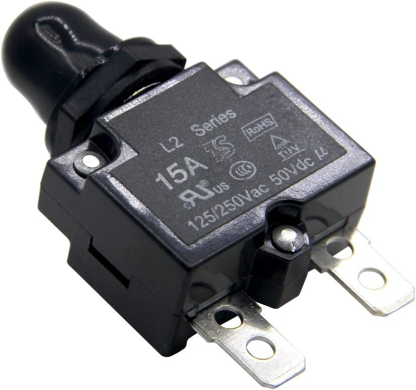 ZOOKOTO 5A DC50V AC125-250V Push Button Reset Circuit Breakers with Quick Connect Terminals and Waterproof Button Black Cap