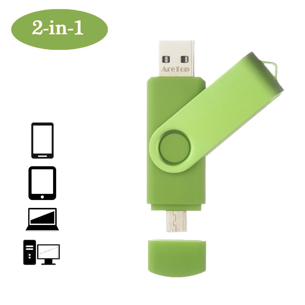 Flash Drive 32GB for Smartphone, OTG USB2.0 Dual Flash Drive Disk ARETOP Memory Stick Thumb Drives Pen Drive for Computers and Android Devices (Smartphones Tablets PC Samsung Galaxy,etc.) Green
