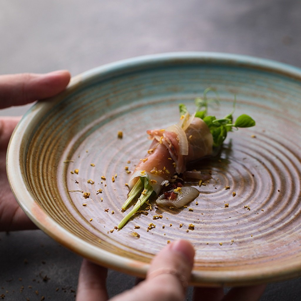 He Xiang Ya Shop Ceramic soup plate deep dish retro round fruit salad plate Flat dish steak plate 20.5 cm (8 inches) by He Xiang Ya Shop (Image #3)