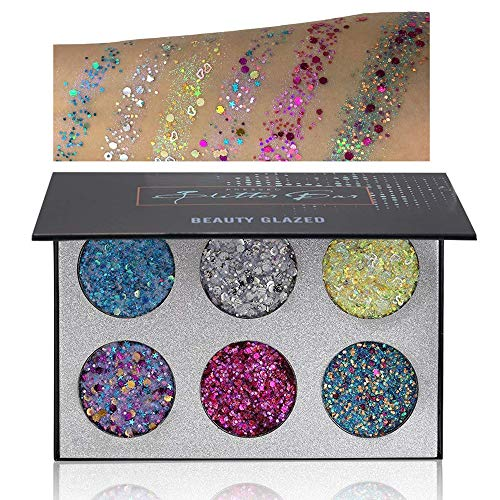 Beauty Glazed Eyeshadow Palettes 6 Colors Glitter Injections Pressed Pigmented Glitter Powder Make Up Palettes Diamond Rainbow Shimmer Makeup (6Color B22B)
