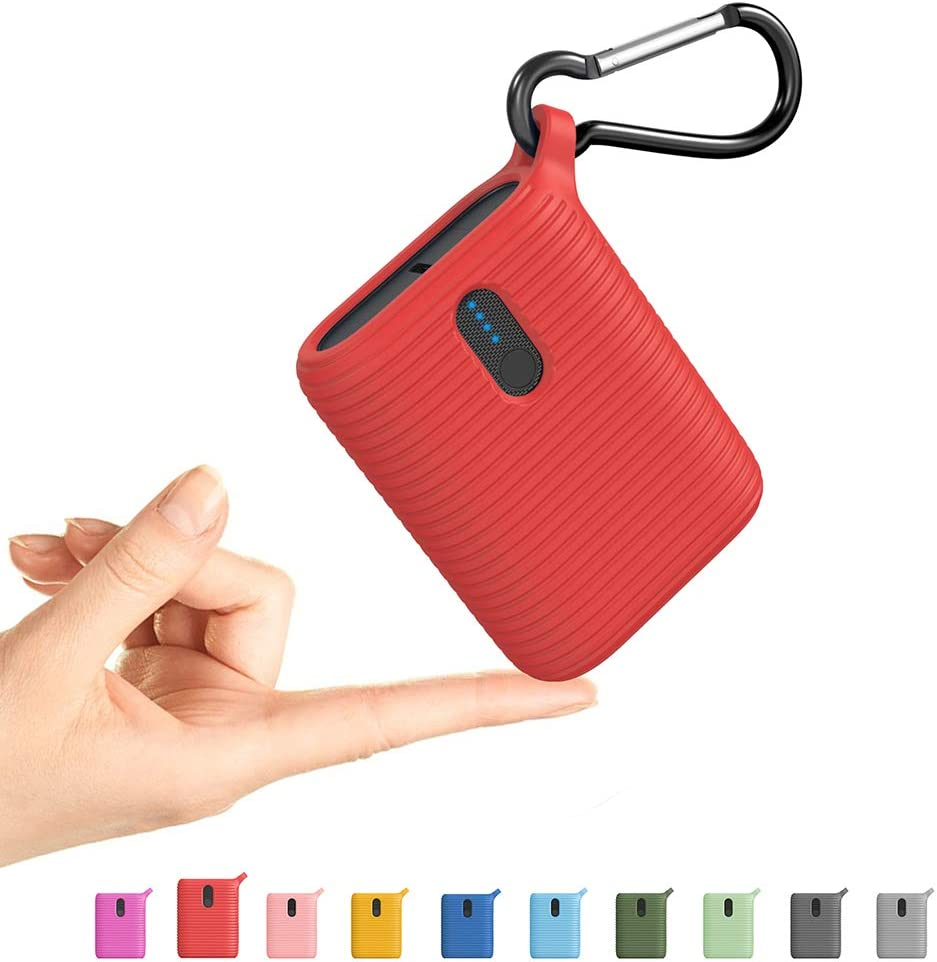Outxe Mini Power Bank 10000mAh, Portable Charger Lightweight with Dual Output Ports, Lightest Ultra Compact USB-C External Battery for iPhone, Samsung and More (Cherry Red)