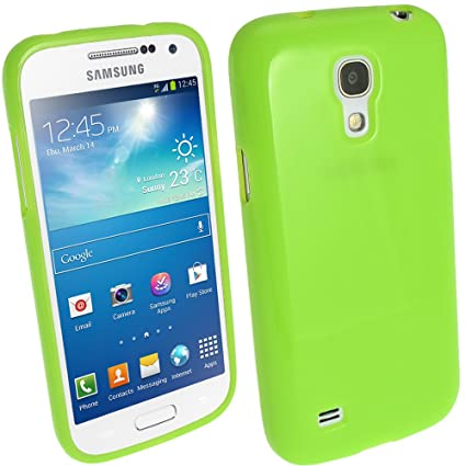 igadgitz Verde Case TPU Gel Funda Cover Carcasa para Samsung Galaxy S4 SIV Mini I9190 I9195 Android Smartphone + Protector de pantalla