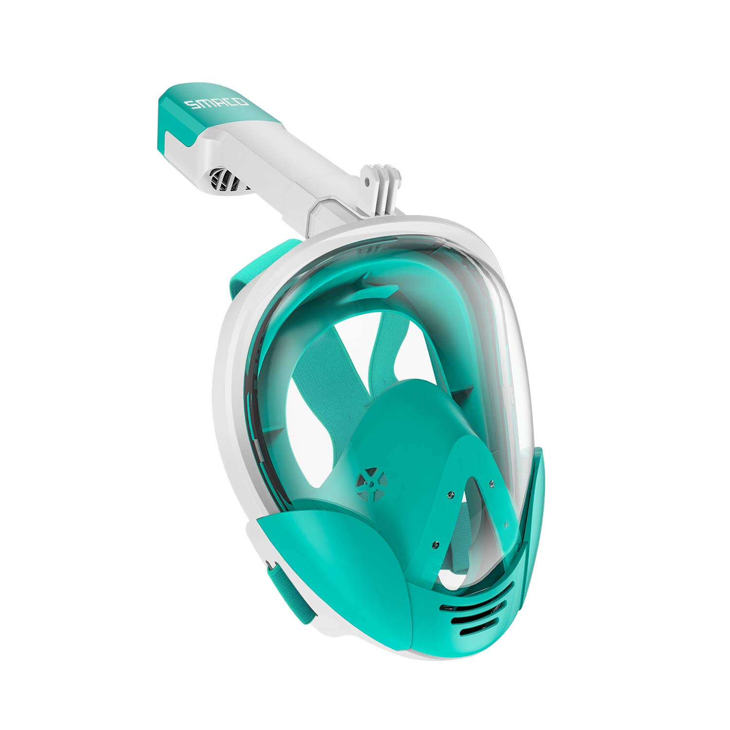 SMACO Full Face Snorkel Mask with UV Protection Anti-Fog Anti-Leak Snorkeling Mask with Detachable Camera Mount 180° Panoramic View Swimming Mask for Adults and Youth (White/Green, Small/Medium) by SMACO
