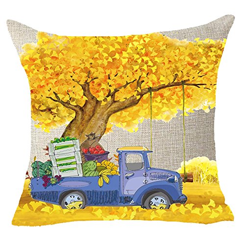 FDROL Golden Maple Fall Leaves Blue Hand Painted Pickup Truck Fruits Cotton Linen Pillowcase Cushion Cover Case For Sofa Living Room Office Decorative Throw Pillow Case Cover Square 18X18 inch (B) -