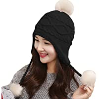 d3bc3944694 Kids Girls Knitted Ear Flaps Hat Beanie With Chunky Faux Fur Bobble Pom Pom  Soft