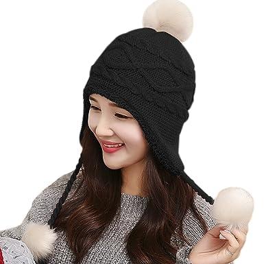 e98ba70dc94 ... Knitted Ear Flaps Hat Beanie With Chunky Faux Fur Bobble Pom Pom Soft  Skin-Friendly Hemming Skulls Hats Fashion Skiing Snowboarding Cap  Amazon.co .uk  ...