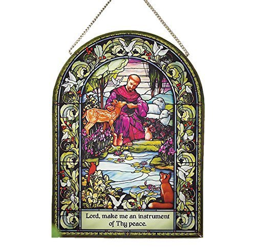 """Abbey Press St. Francis Glass Wall Hanging, 6 x 8"""" by Abbey"""