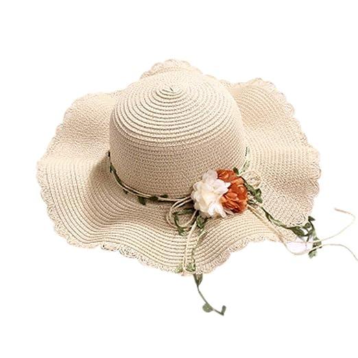e19cc56a0 Amazon.com: Women Bowknot Straw Hat Stripe Floppy Foldable Roll up ...