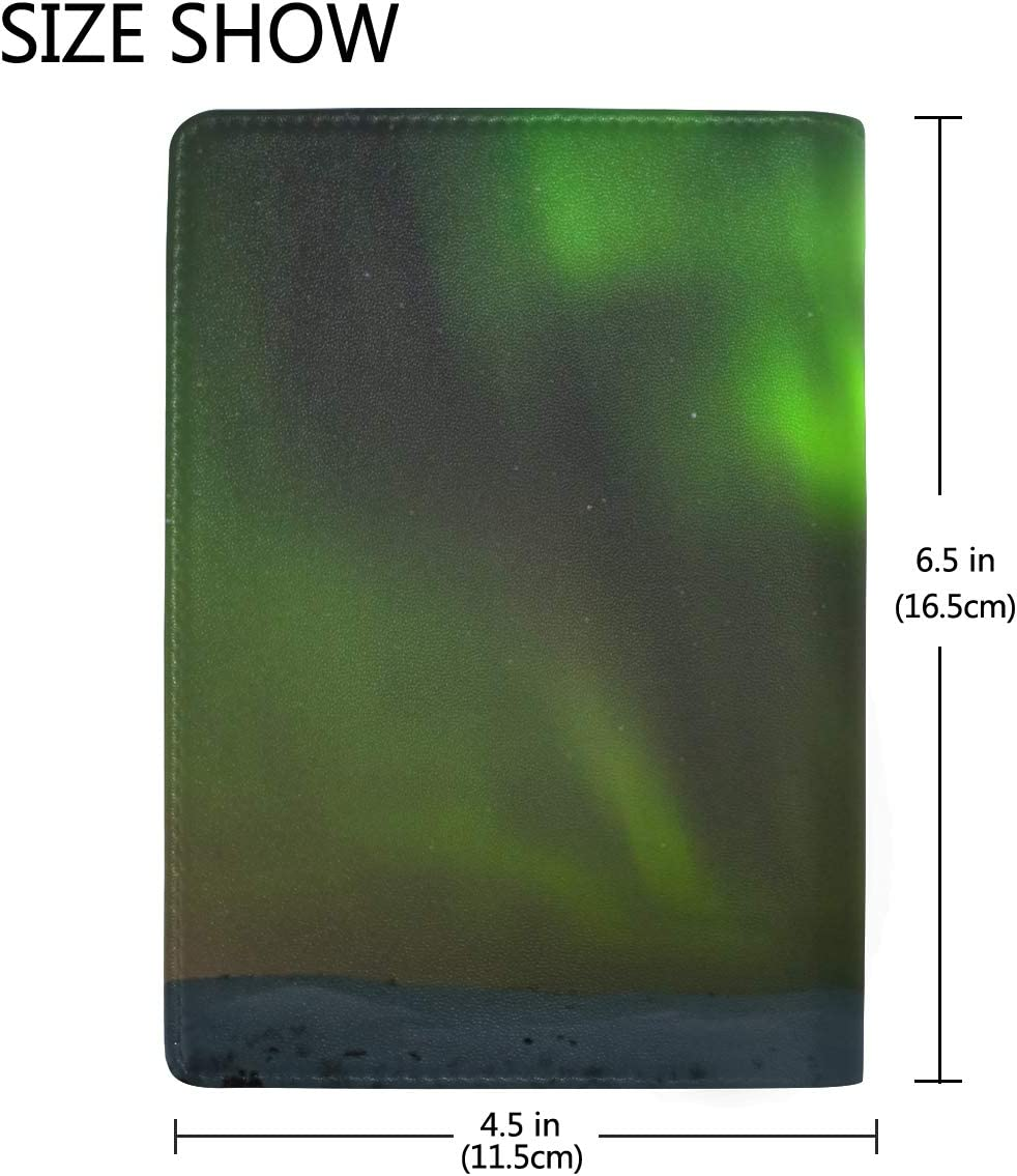 Winter Night With Polar Light Blocking Print Passport Holder Cover Case Travel Luggage Passport Wallet Card Holder Made With Leather For Men Women Kids Family