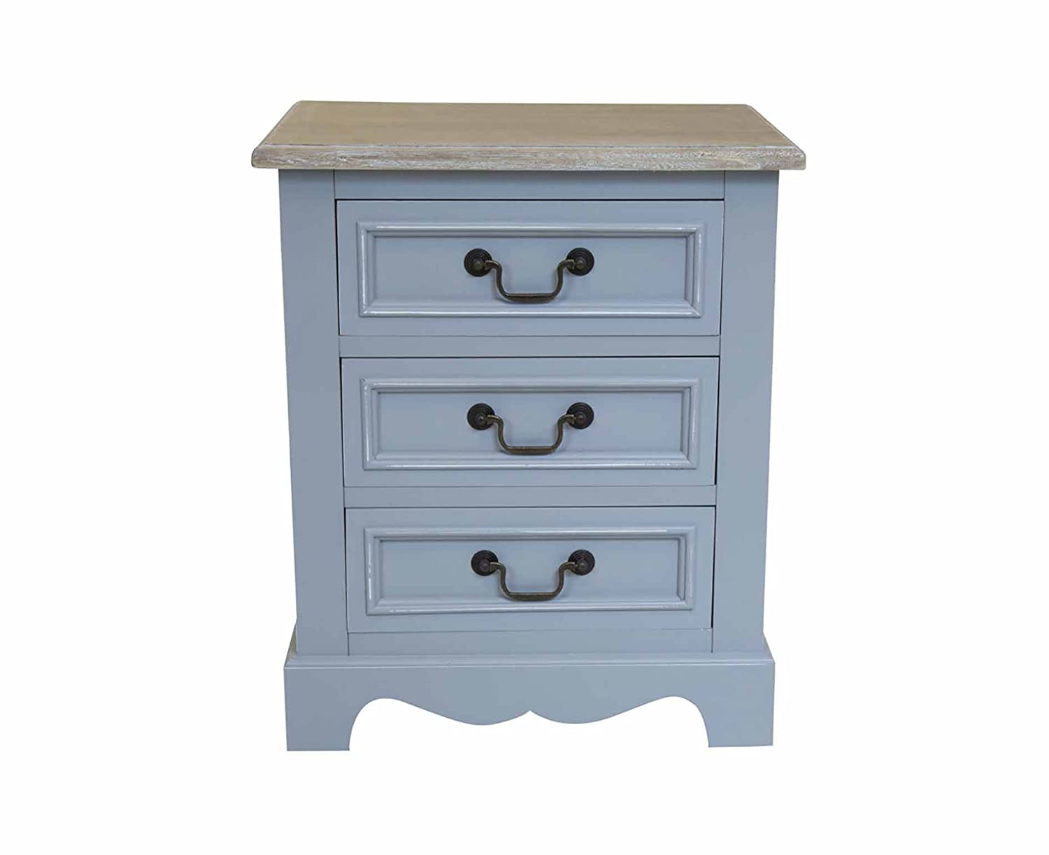 Charles Bentley Loxley Grey 3 Drawer Bedside Table - Color: Grey