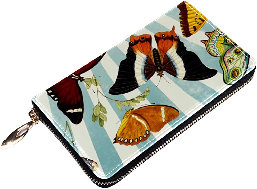 Womens Zip Around Wallet and Phone Clutch,Vintage Butterfly Print,Travel Purse Leather Clutch Bag Card Holder Organizer Wristlets Wallets
