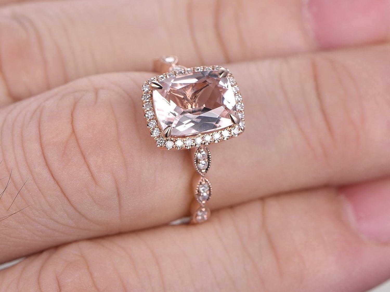 Amazon.com: MYRAYGEM-engagement ring 7x9mm Cushion Pink Morganite ...