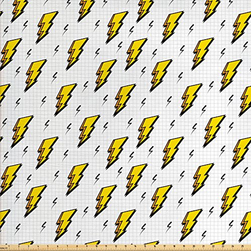 bric by The Yard, Retro Comic Book Effect Bolt with Funky Lines Pop Art Inspired Pattern, Decorative Fabric for Upholstery and Home Accents, White Yellow ()