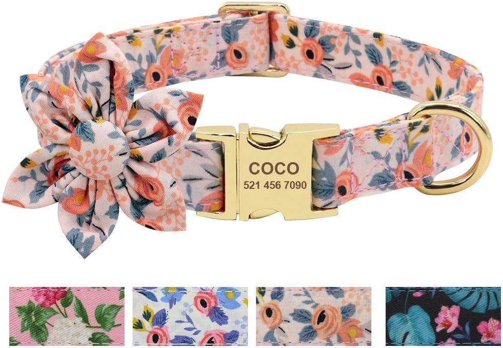Puppy small adjustable collar Dog Collar Garden Party Peach floral custom pet collar with metal easy release buckle Girl Dog Collar