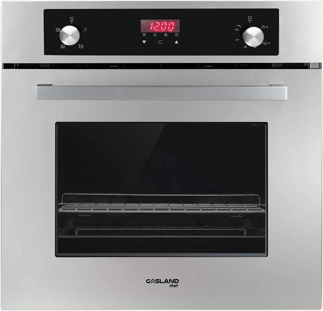 "GASLAND Chef 24"" Built-in 6 Cooking Function Single Wall Gas Oven, Mechanical Knob + Touch Control Digital Gas Wall Oven"