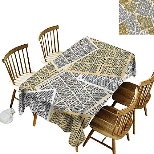 (Old Newspaper Decor Elastic edges fit the rectangular tablecloth Suitable for most home decor Pages of Old Journals Magazines Columns Information Print W14 x L108 Inch Light Brown White Black)