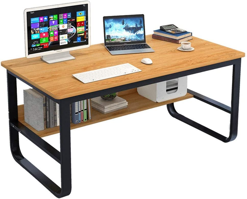 "Computer Desk 47.2"" with Bookshelf, Office Desk, Writing Desk, Wood and Metal Frame, Office Style, Study Table Workstation for Home Office Furniture"