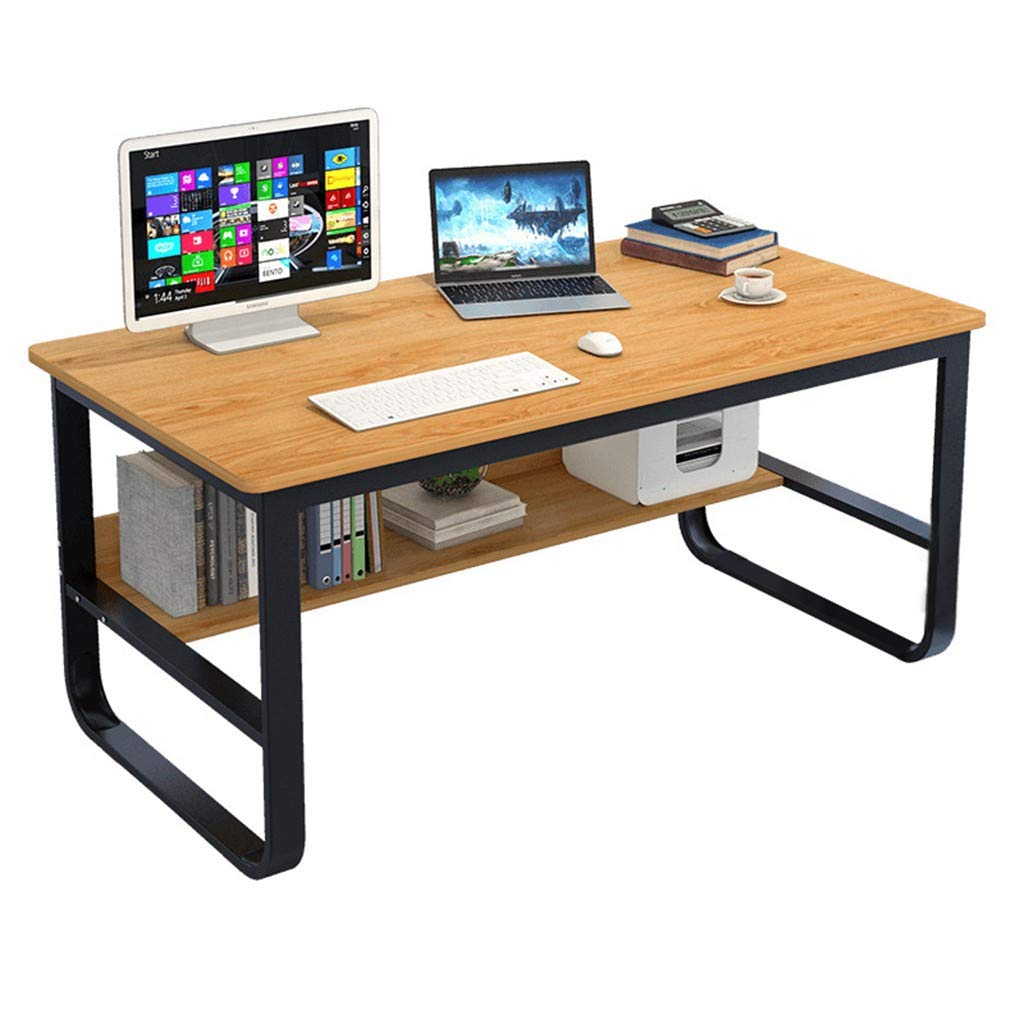 Yellow 47.2 x 23.6 x 28.7 inches Large Home Office Furniture Desk Computer Table with Bookshelf Student Writing Desktop Desk Modern Simple Workstation - Shipped from US (55.2 x 27.6 x 28.8 inches, Black)