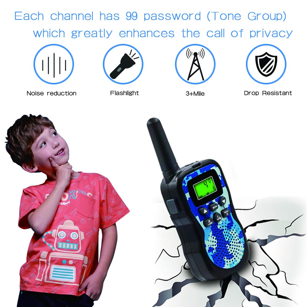 Walkie Talkies For Kids , Range Up to 3 Miles With Backlit LCD Display And Flashlight Walkie Talkies For Boys Girls Outdoor Toys For 3-12 Year Old Boys Girls Bset Gifts For 3-12 Year Old Boys Girls by Sun-Team (Image #3)