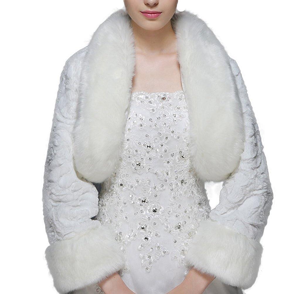 Icegrey Donna Coprispalle Da Sposa Giacca In Pelliccia Sintetica Scialle Stola Per Feste Matrimoni MAIS-MJ151124-2