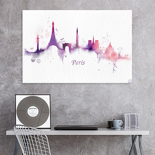- wall26 Canvas Wall Art - Impressionism Watercolor Style City Landscape of Paris - Giclee Print Gallery Wrap Modern Home Decor Ready to Hang - 12x18 inches
