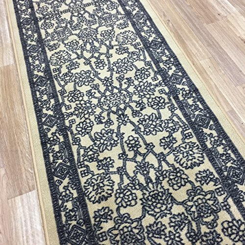 Custom Size BEIGE Egyptian Print Traditional Persian Rubber Backed Non-Slip Hallway Stair Runner Rug Carpet 22 inch Wide Choose Your Length 22in X 16ft