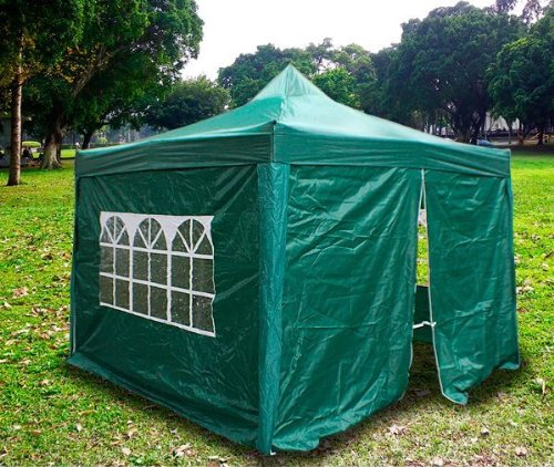 New MTN Gearsmith Heavy Duty Ez Canopy Pop up Tent Canopy Shade 10 X 10' Gazebo with 4 Walls DarkGreen