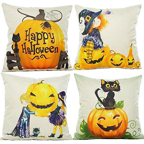 Price comparison product image 4-Pack Happy Halloween Throw Pillow Case Cotton Linen Square Burlap Decorative Cushion Cover Spider Cat Pumpkin Sofa Pillowcase