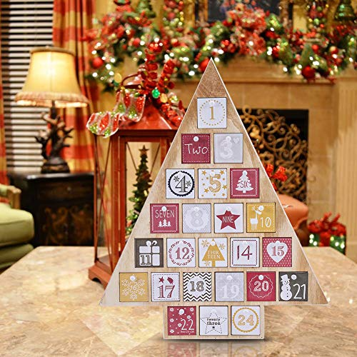 "Juegoal Countdown to Christmas Calendar Nature Wood Tree Shape Advent Calendar 24 Storage Drawers, 15"" Tall"